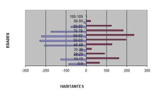 Pirámide de población. Elaboración: Propia. Datos: Exmo. Ayto. de Berlanga.