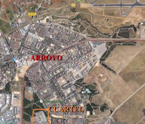 Fig. 3. El arroyo de Ranillas y el Cuartel de San Fernando. Fuente: Google Maps.