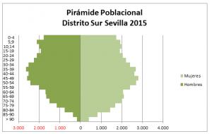Imagen 14. Pirámide de población del Distrito Sur Sevilla