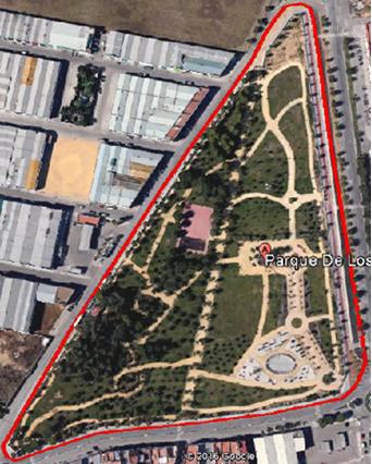 Imagen 1. Aérea del parque de Los Hermanamientos. Fuente: Google earth.