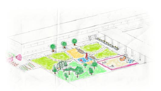 Propuesta de dise o del patio de una escuela de primaria for Plano escuela infantil